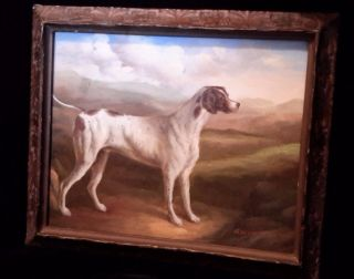 Fantastic Framed Signed Oil Painting Of A Dog / Canine In 19th Frame photo