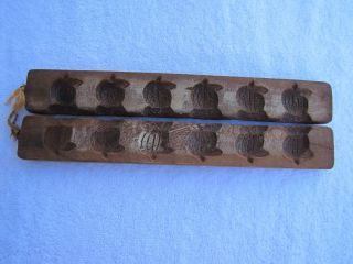 Antique Primitive Hand Carved (?) Wooden Chocolate Candy Mold Pumpkin Impressions photo