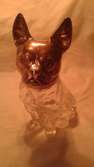 Rare Antique Silver Plate & Crystal 8 Inch Dog Head Candy Container / Glass Eye photo