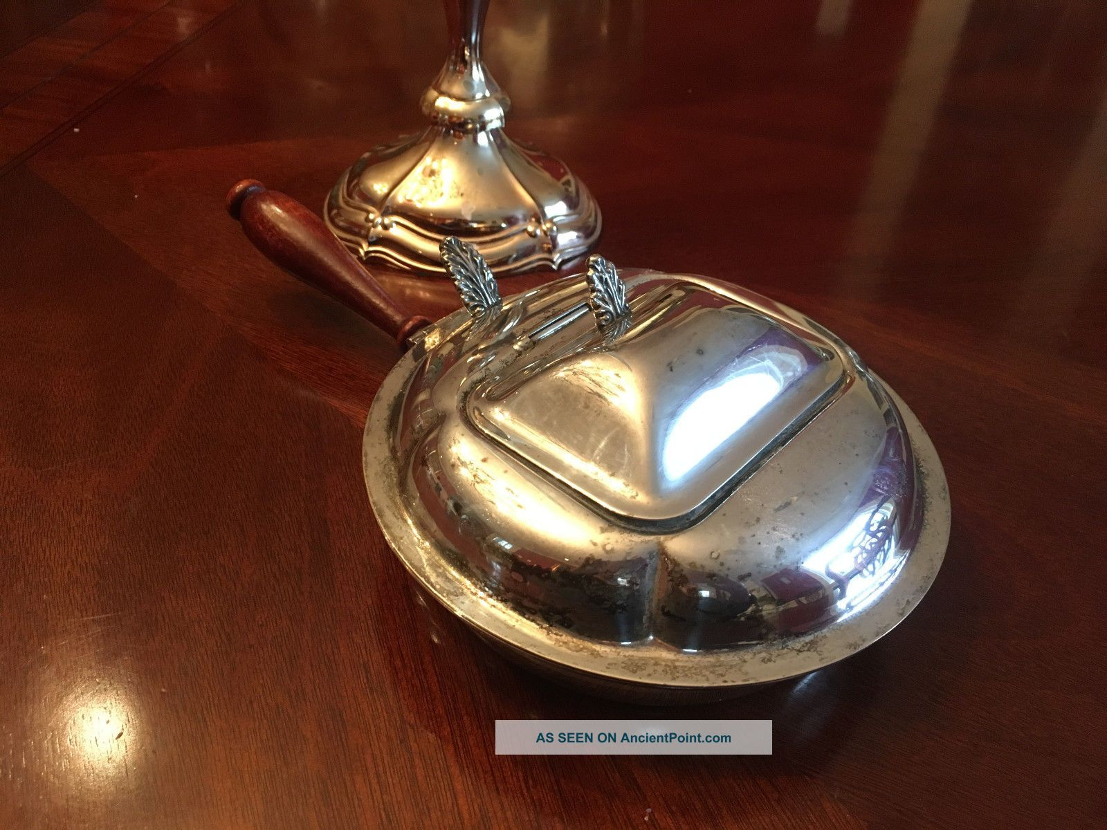 Estate - English Silver Mfg Co Silver Plate Double Lid Silent Butler Other Antique Silverplate photo
