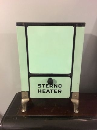 Rare 1930s Sterno Room Cabin Celadon Green Enamel Portable Antique Camp Heater photo