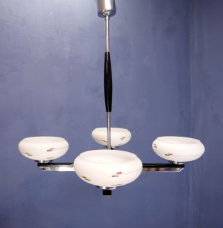 Vintage French Art Deco 1920s 1930s Chrome And Glass Chandelier Ceiling Lamp photo