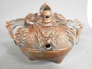 China Chinese Bronze Joss Stick Holder Censer W/ Dragon Decoration Ca.  20th C. photo