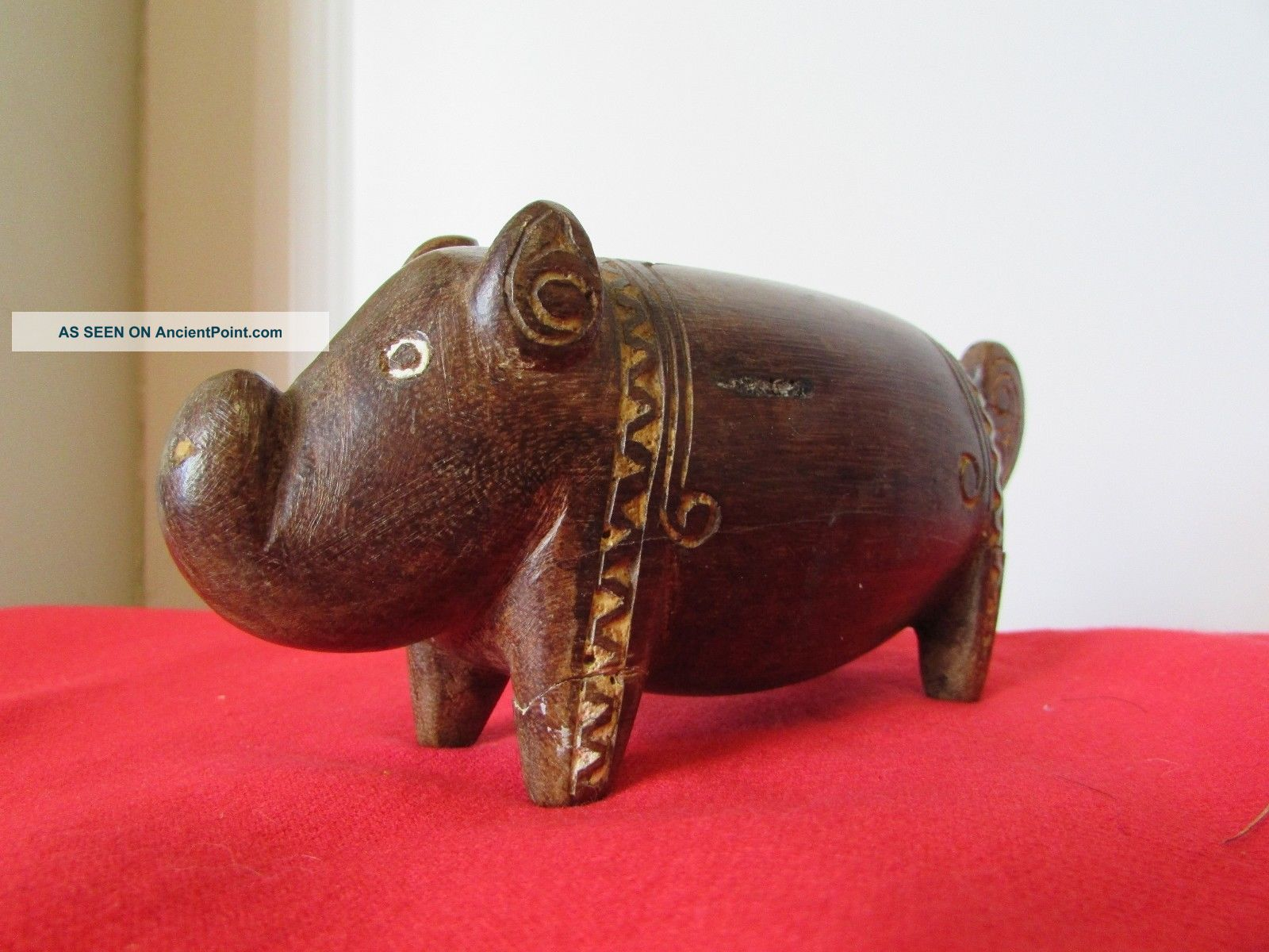 Trobriand Island Pig Carving Lime Incised Mid Century No.  2 Pacific Islands & Oceania photo