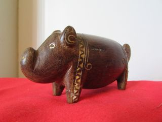 Trobriand Island Pig Carving Lime Incised Mid Century No.  2 photo