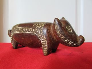 Trobriand Island Pig Carving Lime Incised Mid Century photo
