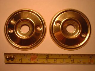 2 Re - Placement Brass Door Knob Back Plates / Roses 52 Mm Diameter Rim Lock Etc photo