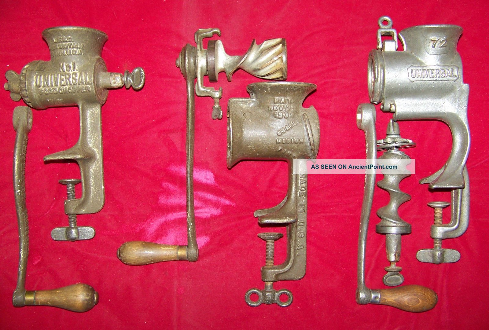 Vintage Universal 1,  72 & Steinfield 21 Food/ Meat Choppers Hand Crank Meat Grinders photo