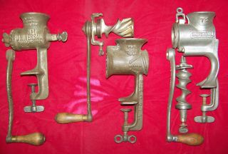 Vintage Universal 1,  72 & Steinfield 21 Food/ Meat Choppers Hand Crank photo