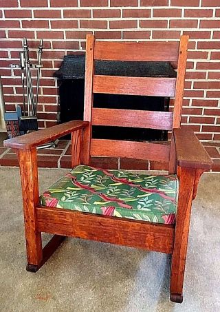 Antique Stickley Rocking Chair Quaint 1902 Arts & Crafts Rocker Vtg Mission Oak photo