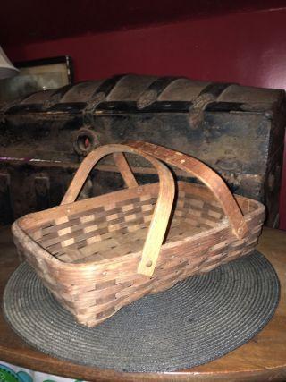 Antique Primitive Split Splint Oak Bent Wood Market / Gathering Basket photo