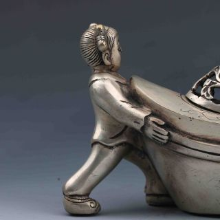 Tibetan Silver Handwork - Carved Young Boy And Girl Incense Burner G806 photo