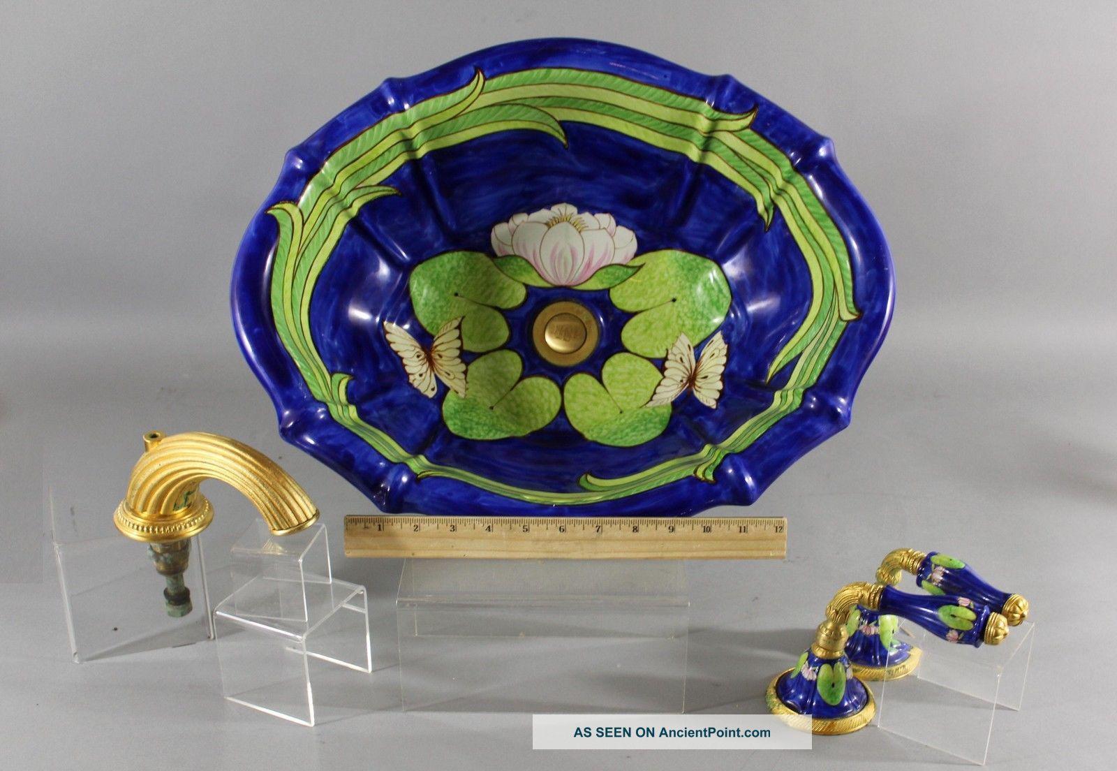Vintage Sherle Wagner Hand Painted Italian Porcelain Bathroom Sink,  The Lilies Sinks photo