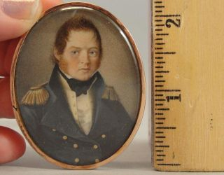 Antique War Of 1812 Naval Officer Miniature Portrait Painting & Hair Jewelry,  Nr photo
