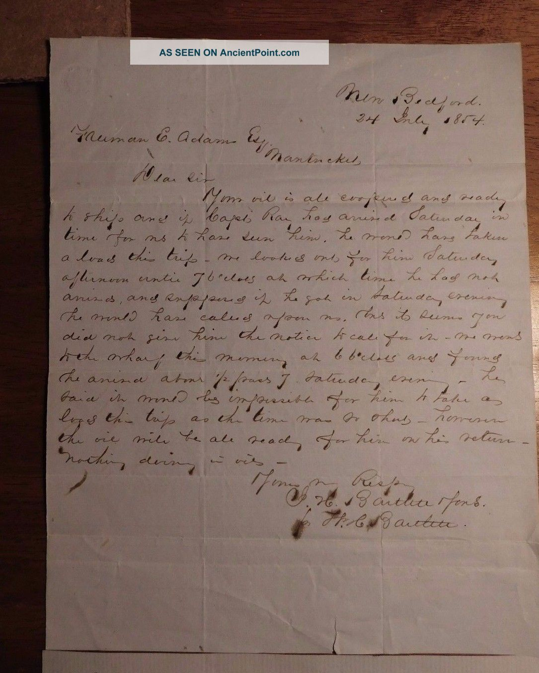 July 1854 Whale Oil Message Truman Adams Nantucket I.  H.  Bartlett Sons - Whaling Other Maritime Antiques photo