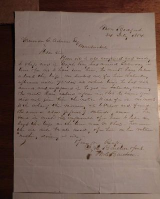 July 1854 Whale Oil Message Truman Adams Nantucket I.  H.  Bartlett Sons - Whaling photo