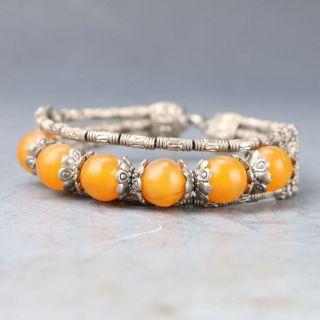 Tibetan Silver & Jade Hand - Carved Beads Bracelet Py0496 photo