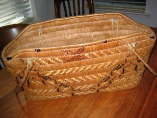 Xl Salish Northwest Coast First Nations Imbricated Basket W Handles Antique photo