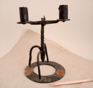 19th C Forged Iron Double Candle Holder Primitive American Antique Rush Light photo