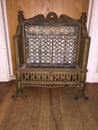 Vintage Adams Cast Iron Victorian Parlor Gas Fireplace Stove Heater Complete photo