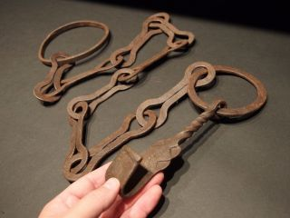 Primitive 18th C Antique Hand Forged Iron Chain Trammel Hearth Cooking photo