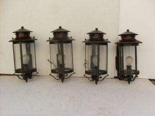 Vtg 4 Matching Italian 1950 ' S Black Iron Lantern Sconces From Train Station photo