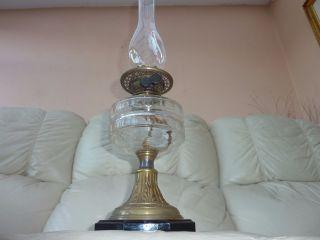 Antique Thomas Rowatt Duplex Kerosene Oil Lamp,  Chimney,  Wicks photo