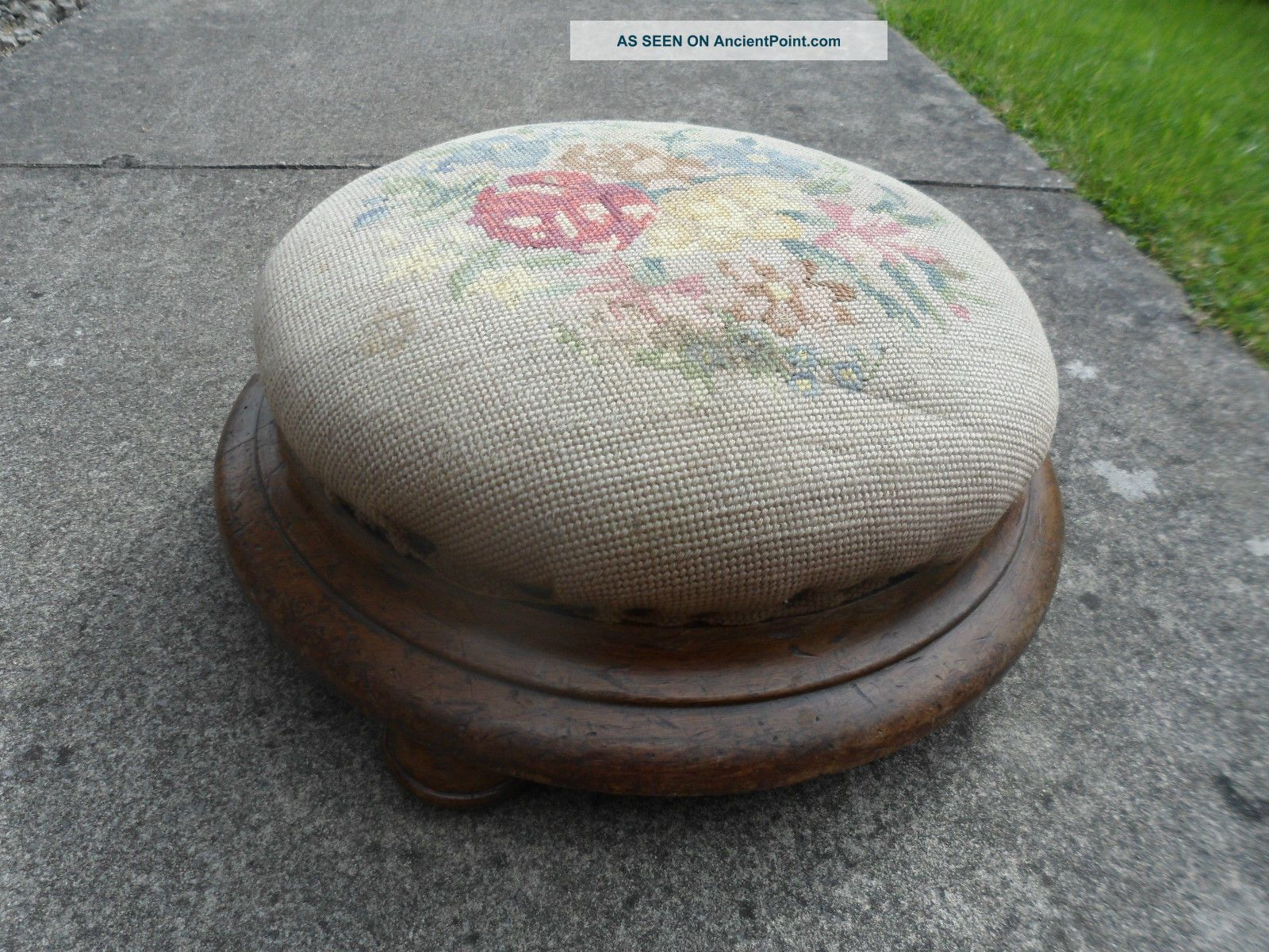 Antique,  Mid Victorian Walnut Based With Bun Feet,  Beaded Foot Stool,  Foot Rest 1800-1899 photo