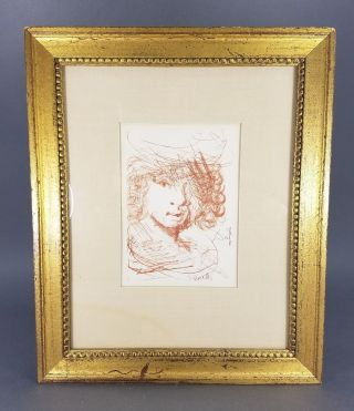 Vtg 50s Etching By Salvador Dali Of Rembrandt Gilt Gold Frame Listed Artist photo