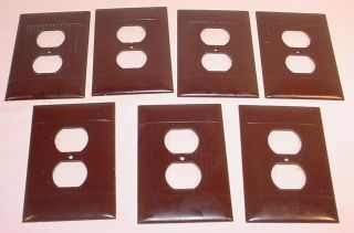 7 Sierra Electric Oversize Brown Ribbed Deco Wall Outlet Covers / Plates photo