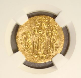 Ad 610 - 641 Heraclius Ancient Byzantine Gold Solidus Ngc Ms 4/5 3/5 photo