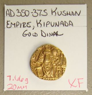 Ad 350 - 375 India,  Kushan Empire,  Kipunada Ancient Gold Dinar Xf photo