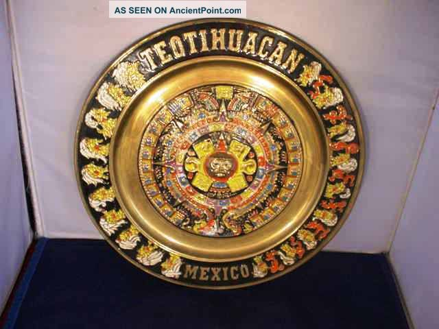 Vintage Enameled Brass Mayan Calendar Aztec Teotihuacan Mexico Wall Plaque Latin American photo