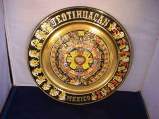 Vintage Enameled Brass Mayan Calendar Aztec Teotihuacan Mexico Wall Plaque photo