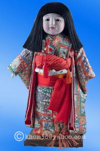 "Vintage Japanese Ichimatsu Doll 16"" Tall /glass Eyes 05 photo"