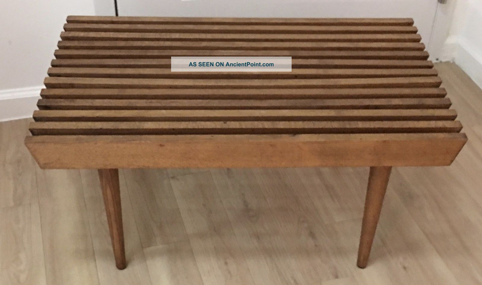 Mid Century Modern Walnut Slat Wood Bench Coffee Table Circa