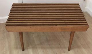 Mid Century Modern Walnut Slat Wood Bench Coffee Table Circa 1960 ' S photo