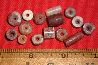 (15) Choice Colorful Sahara Neolithic Stone Beads,  Prehistoric African Artifacts photo