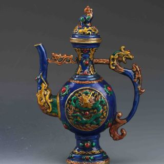 Chinese Cloisonne Carved Dragon Teapot W Ming Dynasty Xuande Mark photo