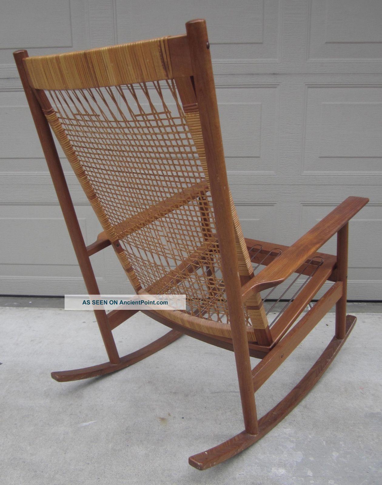 Hans Olsen For Dux Cane Teak Rocking Chair Danish Modern Wegner Style Post-1950 photo