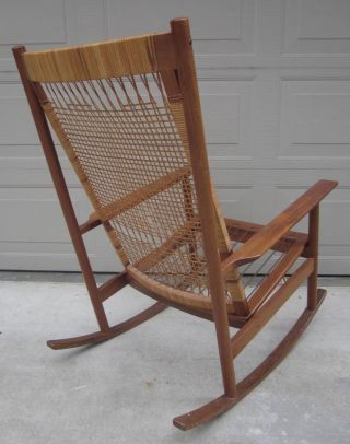 Hans Olsen For Dux Cane Teak Rocking Chair Danish Modern Wegner Style photo