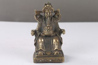 Cpllection Chinese Brass Handwork Carving Mammon Statue H1076 photo