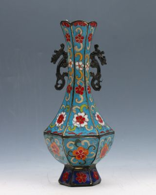 Chinese Cloisonne Handmade Vase W Kangxi Mark Gd9309 photo