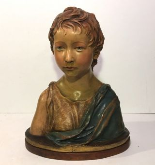 19th C.  Italian Polychrome Terracotta Bust Of A Boy After Andrea Della Robbia photo
