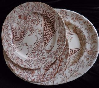 Rare Antique Doulton ' S Burslem 1883 Two Plates And Oval Platter Transferware photo
