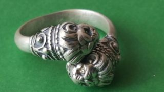 Very Rare Ancient Viking Silver Lion Head Ring photo