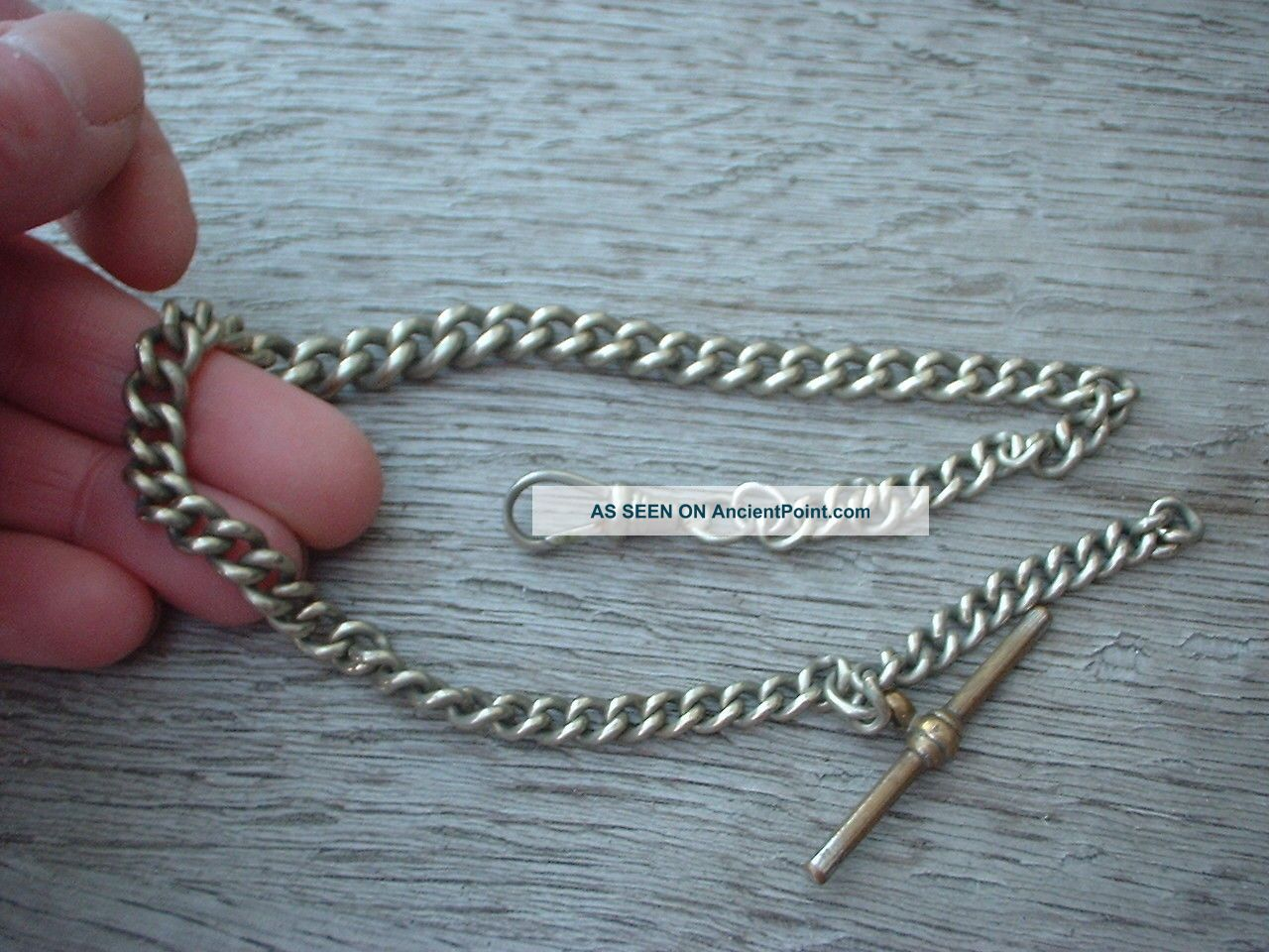 Antique Vintage Albert Pocket Fob Watch Chain Silver Plated With T Bar & Chain Pocket Watches/Chains/Fobs photo