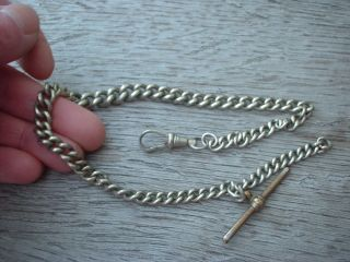 Antique Vintage Albert Pocket Fob Watch Chain Silver Plated With T Bar & Chain photo