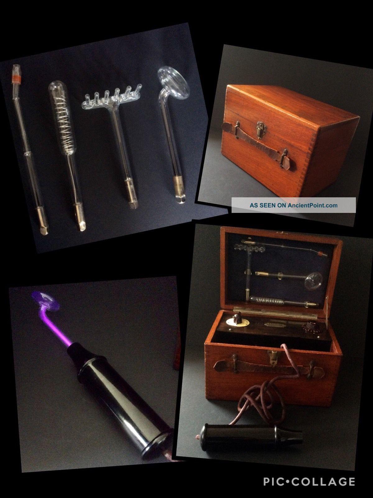 Vintage Violet Ray Wand Tesla Electric Shock Machine Mahogany Quack Medicine Other Medical Antiques photo
