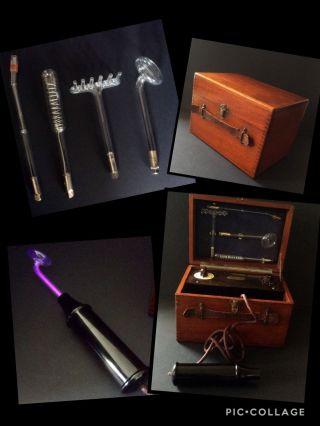 Vintage Violet Ray Wand Tesla Electric Shock Machine Mahogany Quack Medicine photo